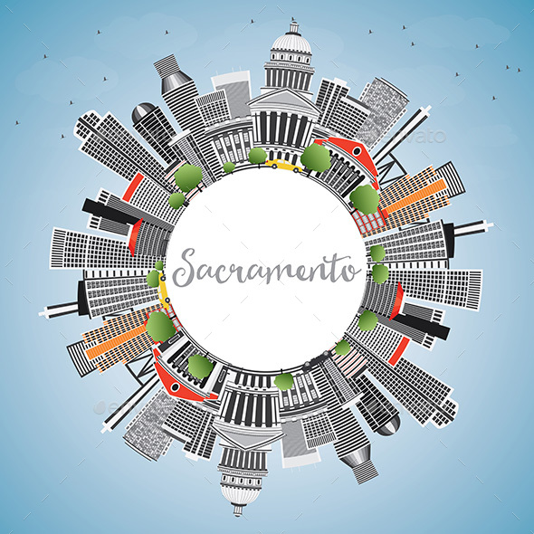 Sacramento Skyline with Gray Buildings, Blue Sky and Copy Space. - Buildings Objects