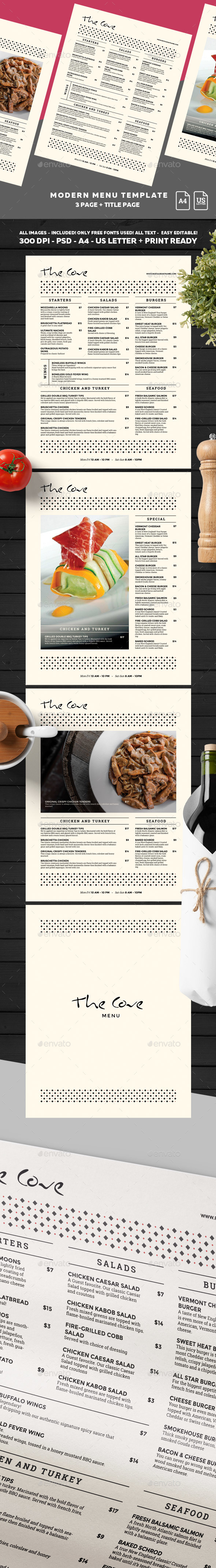 Menu Template - Food Menus Print Templates