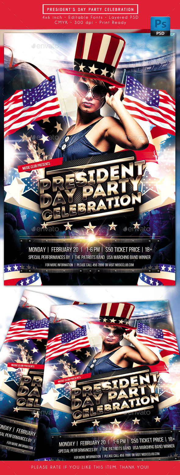 President Day Party Celebration Flyer - Clubs & Parties Events