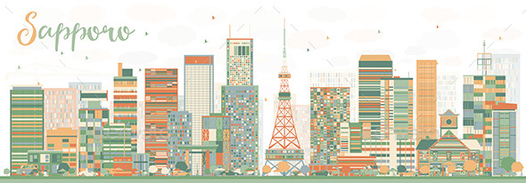 Abstract Sapporo Skyline with Color Buildings. - Buildings Objects