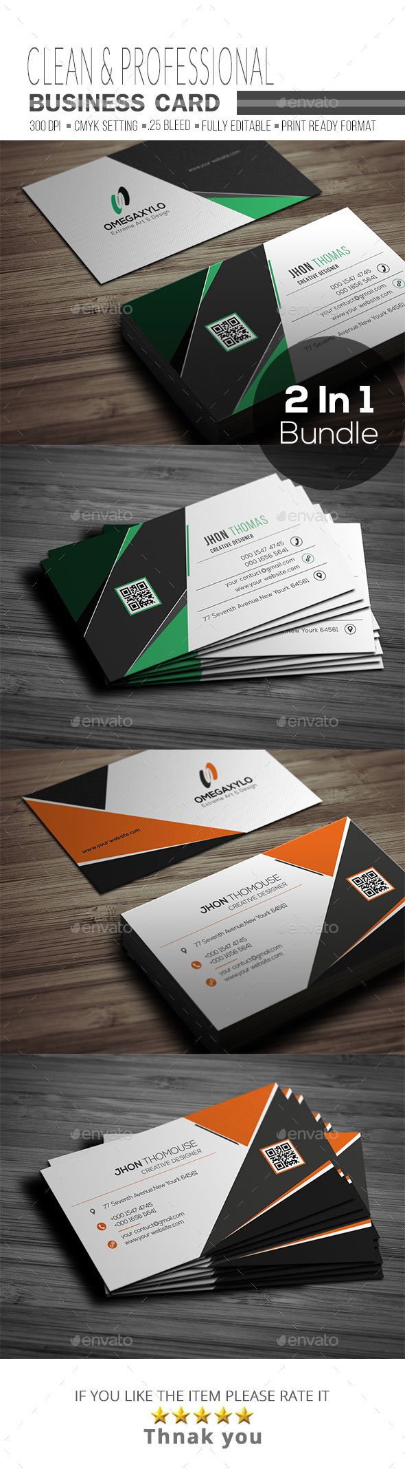 Business Card Bundle ( 2 In 1 ) - Corporate Business Cards