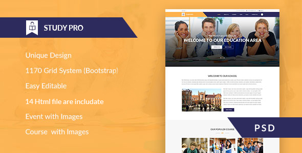 Study Pro – Education & University PSD Template