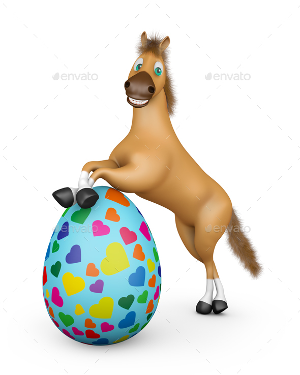 Horse and Easter Egg - Characters 3D Renders