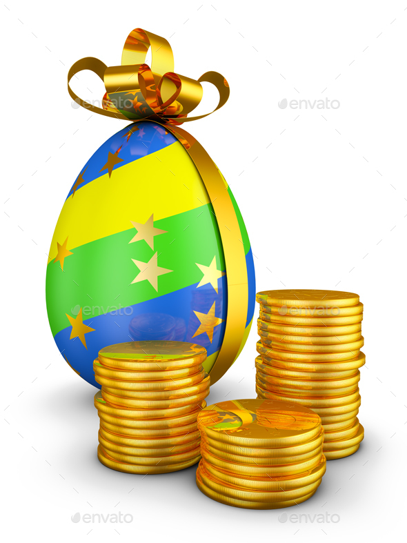 Easter Egg and Coins - Objects 3D Renders