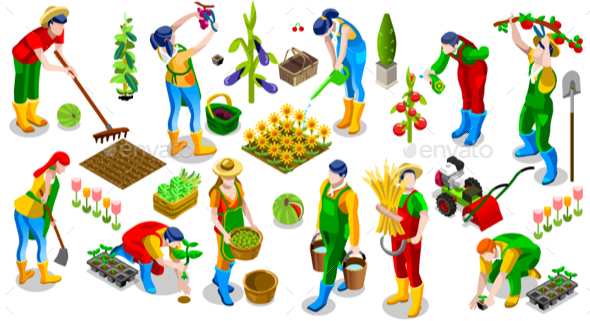 Isometric People Farmer 3D Icon Collection Vector Illustration - Vectors