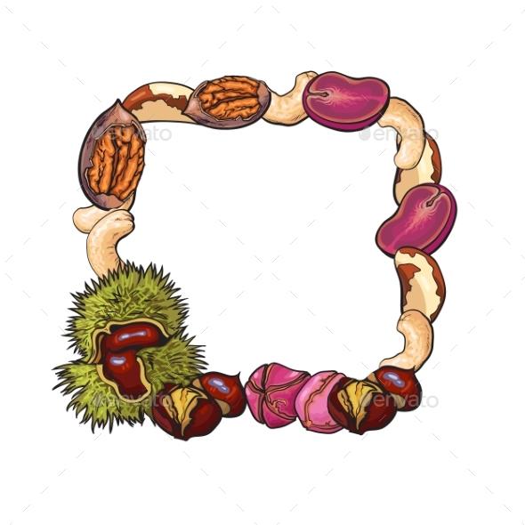 Square Frame of Walnut, Coconut, Cashew, Kola - Food Objects