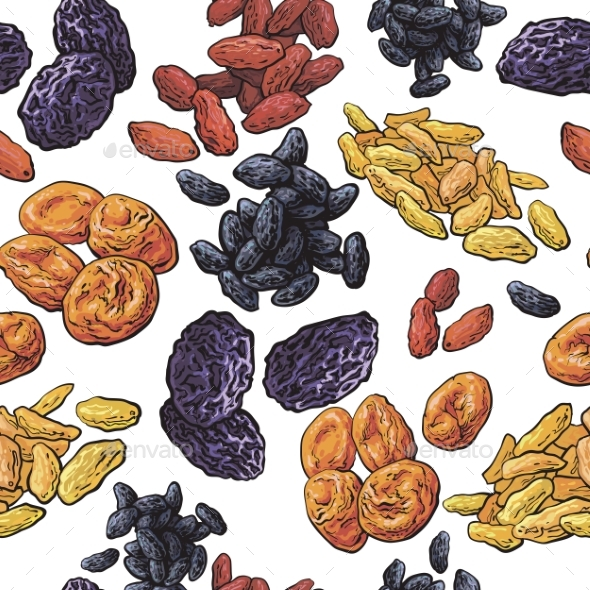 Sketch Style Dried Fruits Seamless Pattern - Backgrounds Decorative