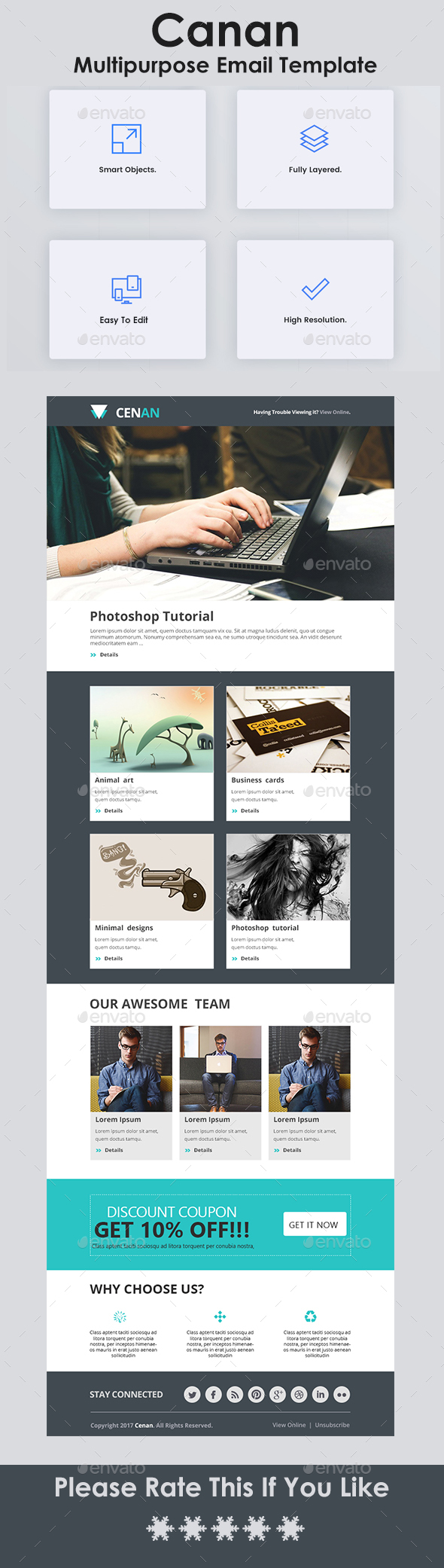 Multipurpose Email Template - E-newsletters Web Elements