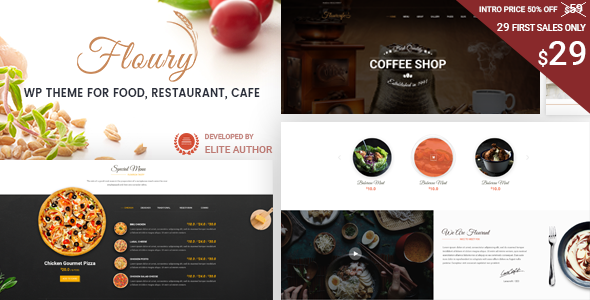 Restaurant WordPress Theme | Floury Restaurant WP (Restaurant, Cafe, Pizza)