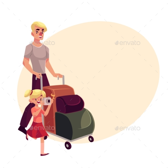 Young Man Pushing Luggage Trolley  - People Characters