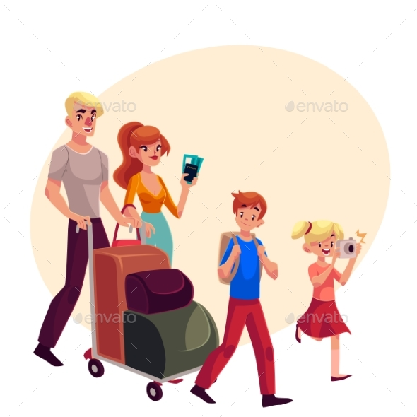 Family of Four Pushing Luggage Cart at Airport - People Characters