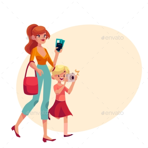 Young Woman Going on Vacation with Her Son - People Characters