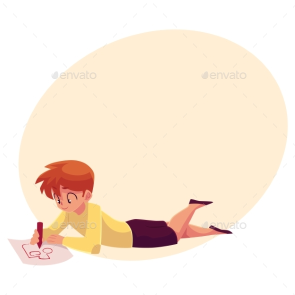 Little Boy Lying on Floor, Drawing Car - Backgrounds Decorative