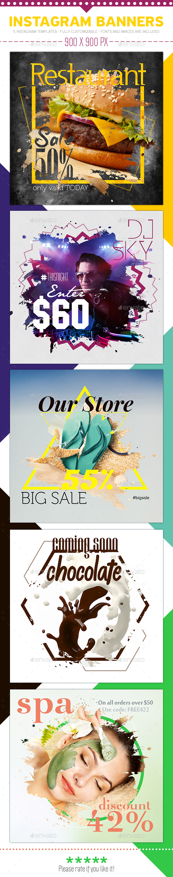 Instagram Promotional Templates - Product Mock-Ups Graphics