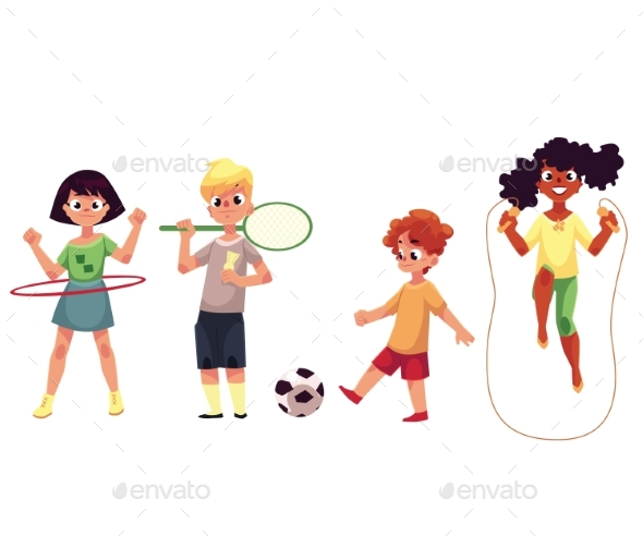 Kids Twirling Hula Hoop, Playing Badminton, Soccer - Sports/Activity Conceptual