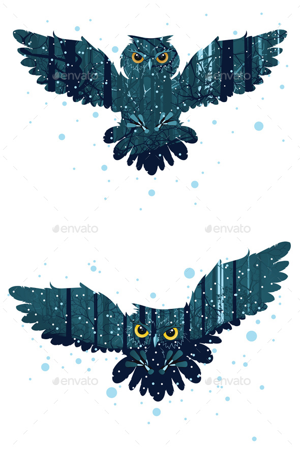Snowy Winter Forest and Owl - Animals Characters