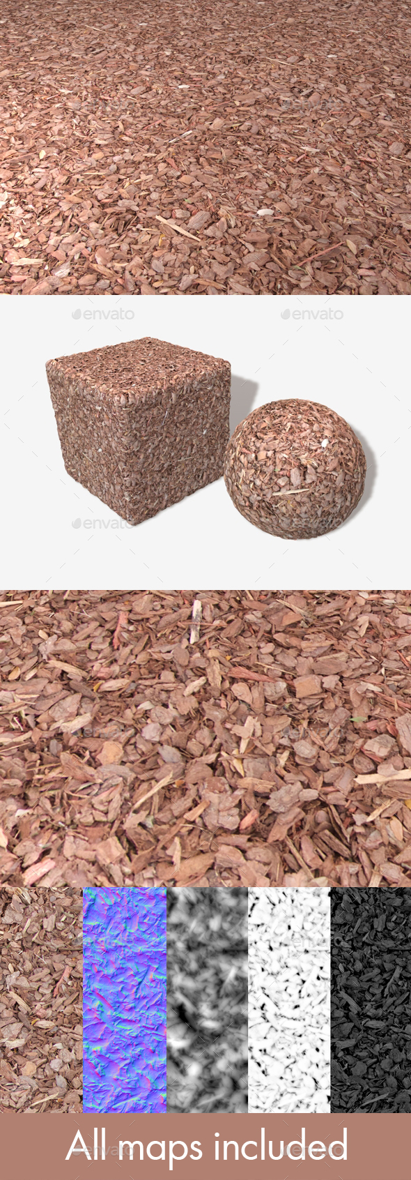 Red Garden Bark Seamless Texture - 3DOcean Item for Sale