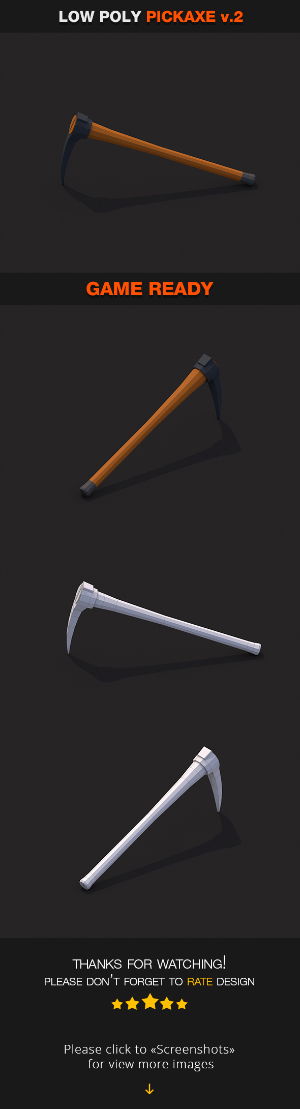 Low Poly Pickaxe v.2 - 3DOcean Item for Sale