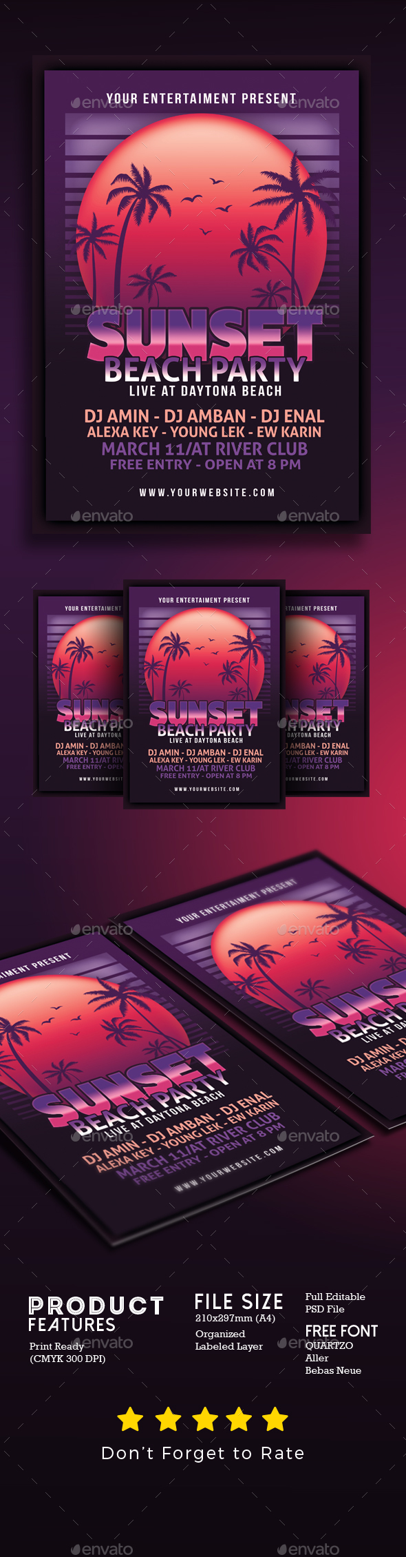 Sunset Beach Party Flyer - Events Flyers