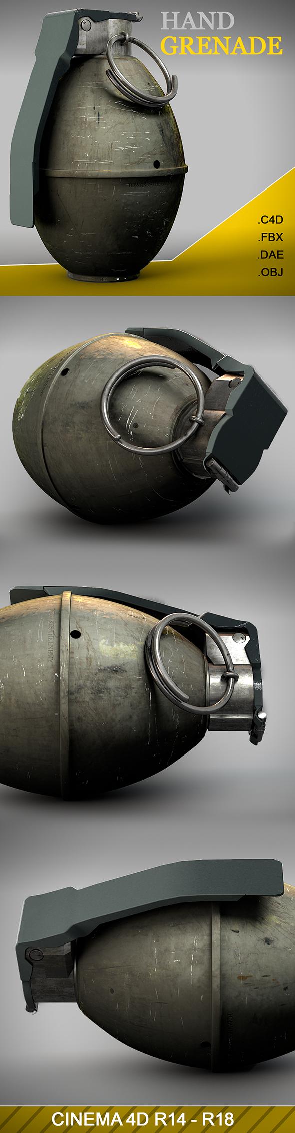 Hand Grenade 3D Model - 3DOcean Item for Sale