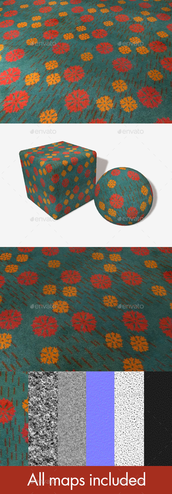 Floral Carpet Seamless Texture - 3DOcean Item for Sale