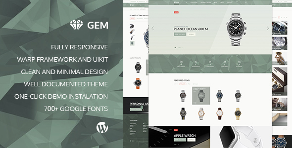 Gem — Luxury eCommerce Responsive WordPress Theme - WooCommerce eCommerce