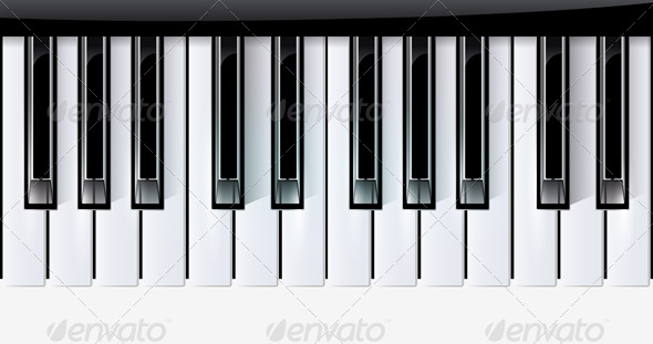 Vector keys piano music instrument - Objects Vectors