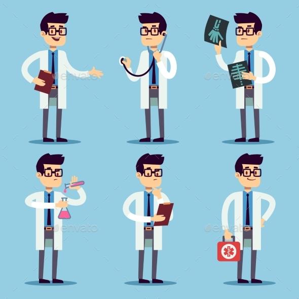 Doctor, Chemist, Pharmacist, Surgeon Man Cartoon - People Characters