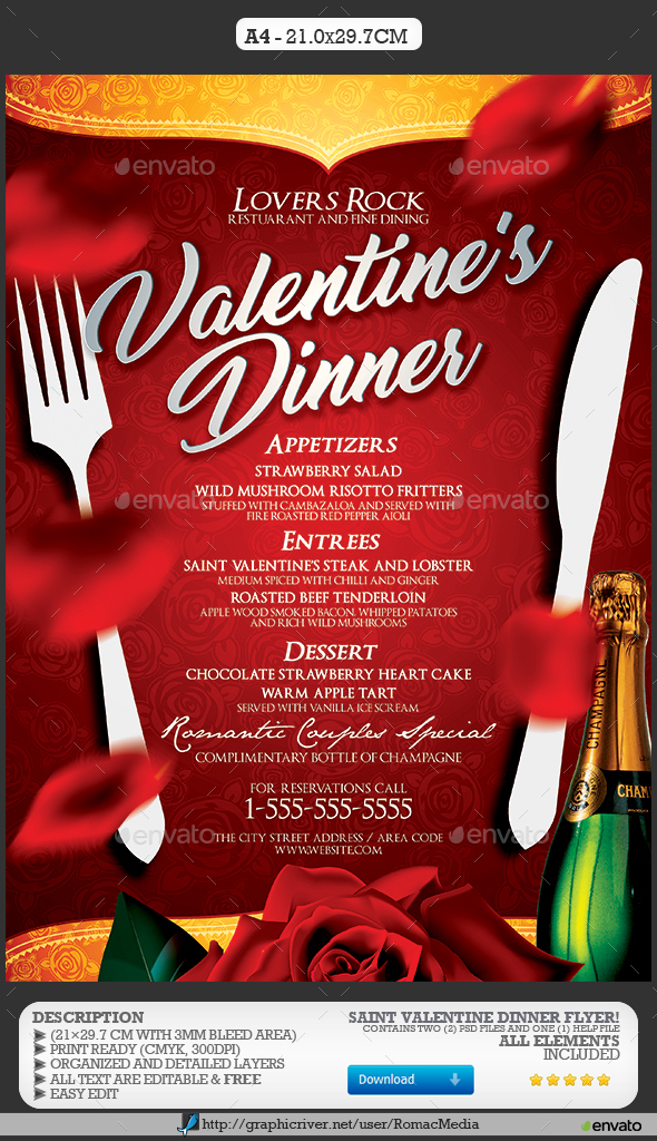 Valentine's Day Dinner Menu - Events Flyers