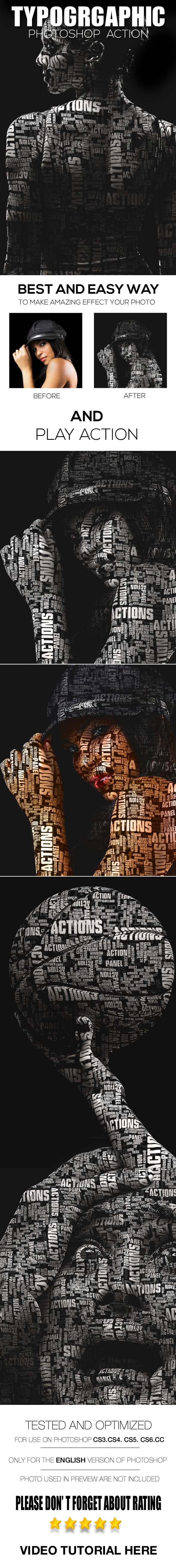 Typographic Photoshop Action - Photo Effects Actions