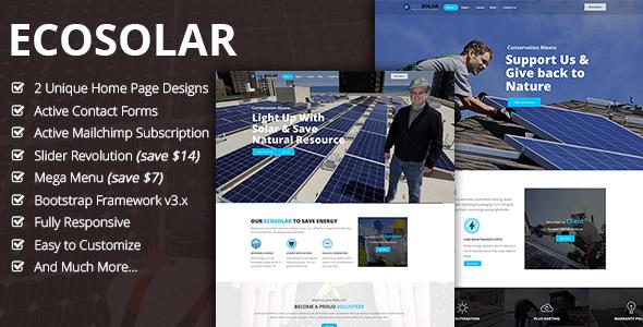 EcoSolar – Nonprofit Environment Recyling Solar HTML5 Template