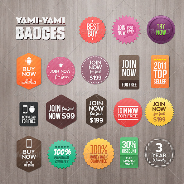 Yami Yami Badges - Badges & Stickers Web Elements