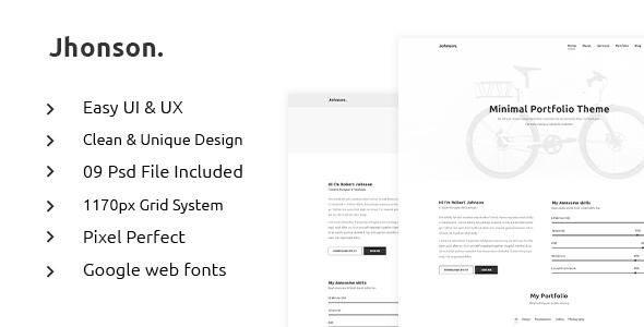 JHONSON - Minimal Portfolio PSD Template - PSD Templates