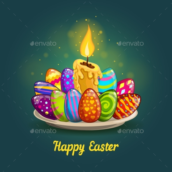 Card with Easter Eggs and Candle - Miscellaneous Seasons/Holidays