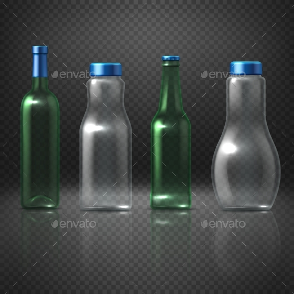 Empty Glass Vector Bottles for Alcohol - Man-made Objects Objects