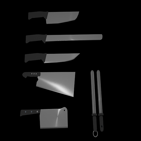 Butcher Knives - 3DOcean Item for Sale