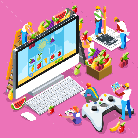 People Developing Game Isometric Vector Illustration - Computers Technology