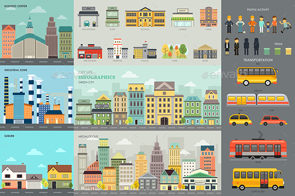 City Life and Transportation Infographic Elements - Travel Conceptual