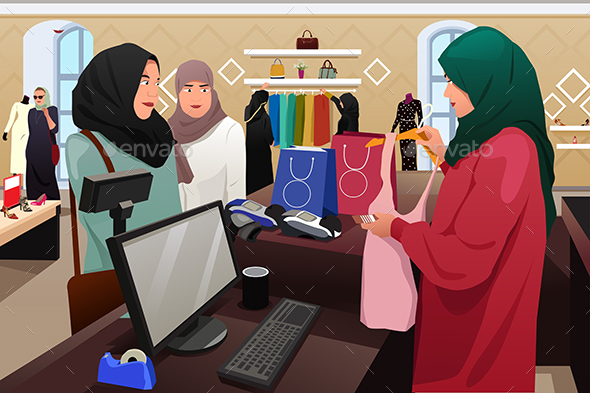 Muslim Women Shopping in a Clothing Store - People Characters