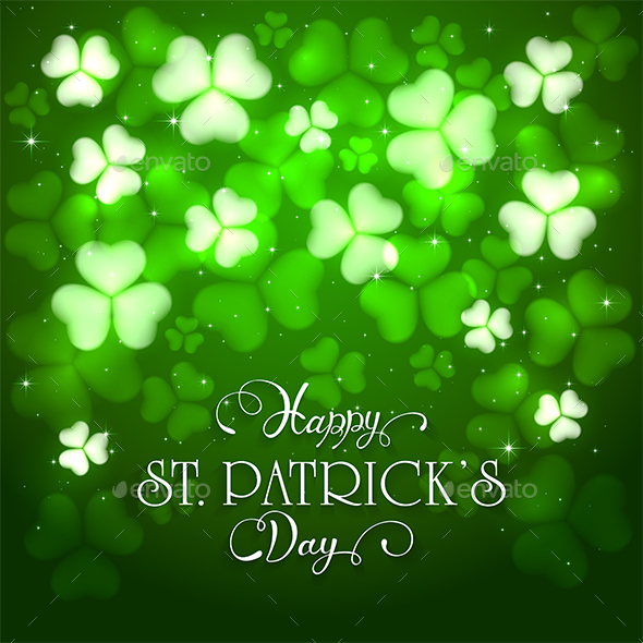 Patrick Day Green Background with Clovers and Holiday Lettering - Miscellaneous Seasons/Holidays