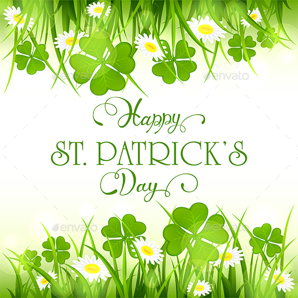 Patricks Day Background with Clover and Grass - Miscellaneous Seasons/Holidays