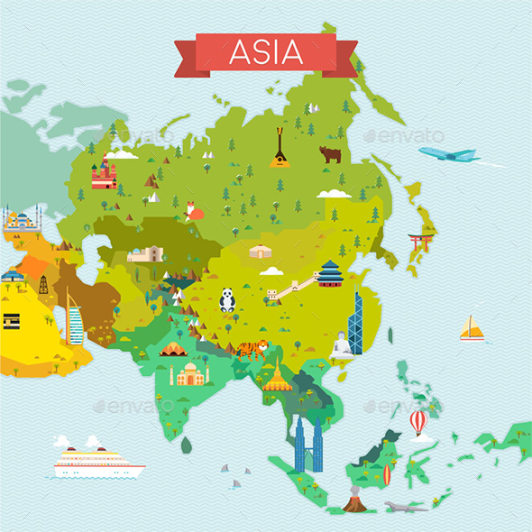 Map of Asia - Travel Conceptual