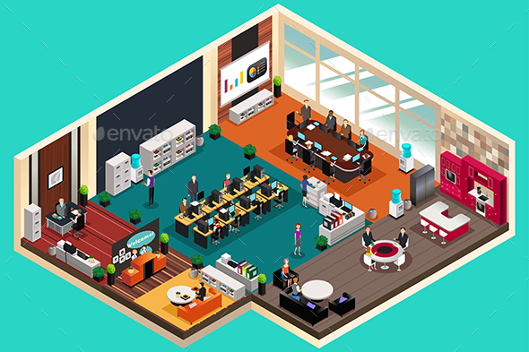 Business People Working in the Office in Isometric Style - Industries Business