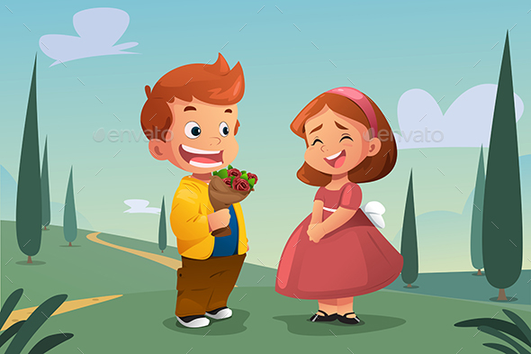 Boy Giving Flower to a Girl - People Characters