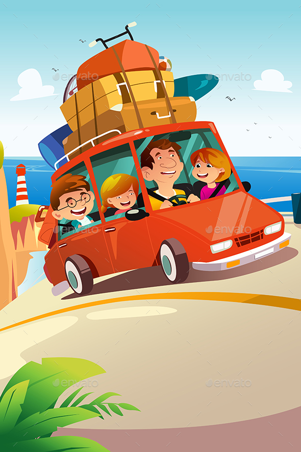 Family Traveling on a Road Trip - People Characters