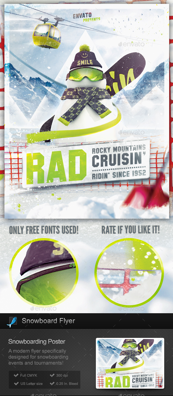 Snowboard Flyer - Snowboarding Poster Template - Sports Events