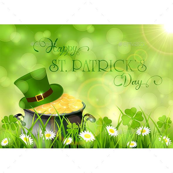 Sunny Patricks Day Background with Hat and Gold of Leprechaun - Miscellaneous Seasons/Holidays