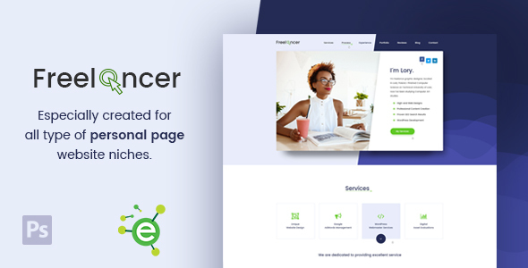 Freelancer – Creative Business & Portfolio Personal Page PSD Template