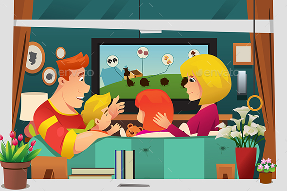 Family Watching TV at Home - People Characters