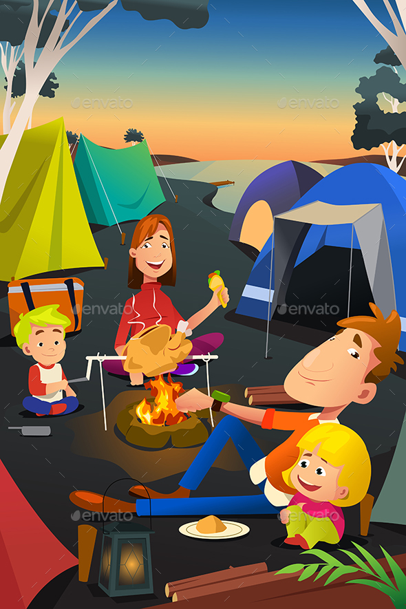 Family Camping Outdoors - People Characters
